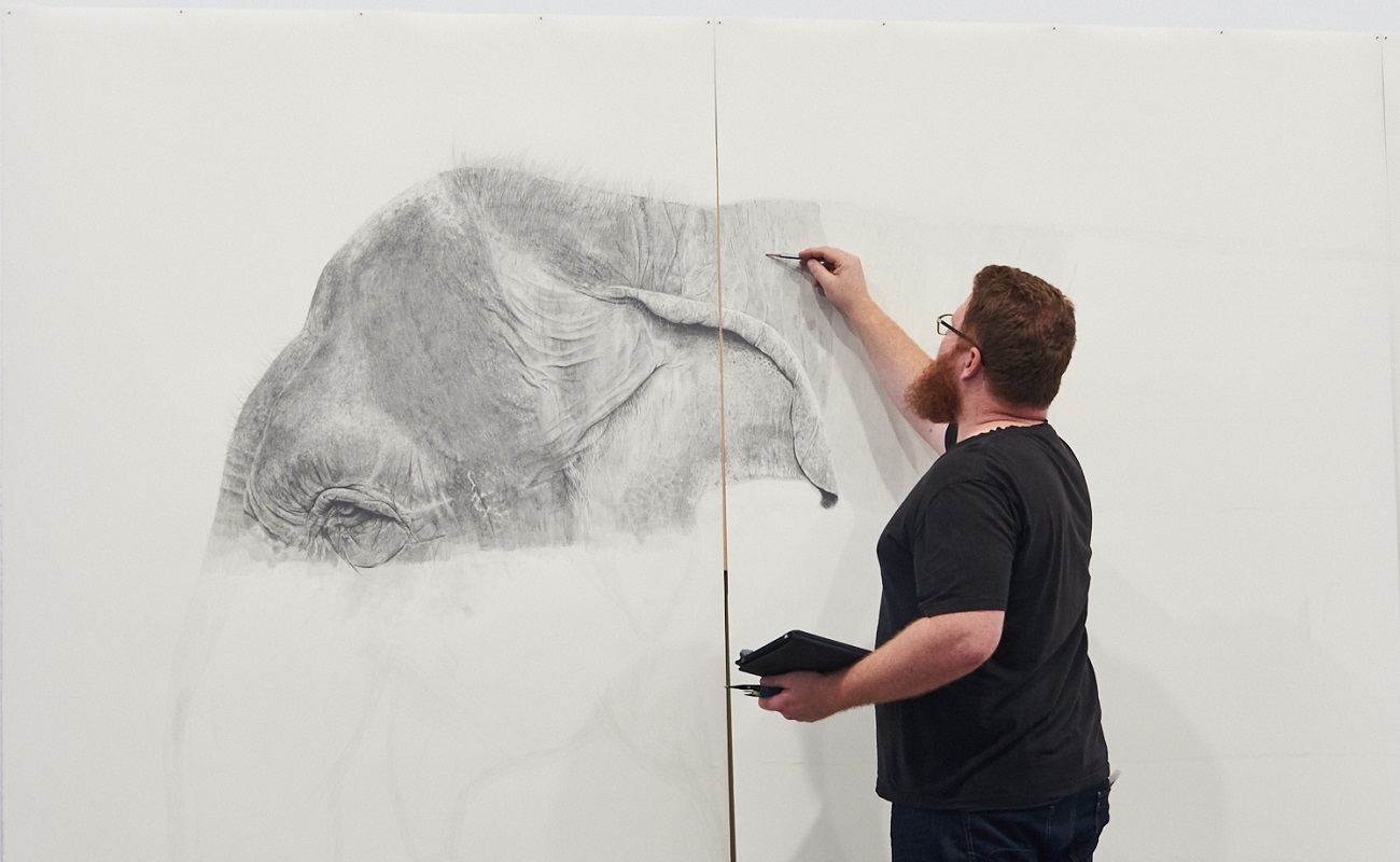 Ross Potter sketching Tricia the Elephant for Animaze: Amazing Animals for Kids. Photography by Rebecca Mansell