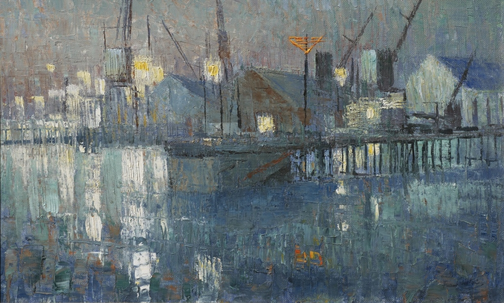 Frank Norton, Fremantle Harbour Slipway, 1959, oil on board