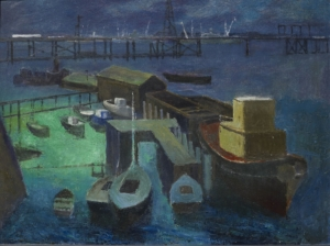 Frank Norton, Fremantle from East Street, 1963, oil paint on board, City of Fremantle Art Collection