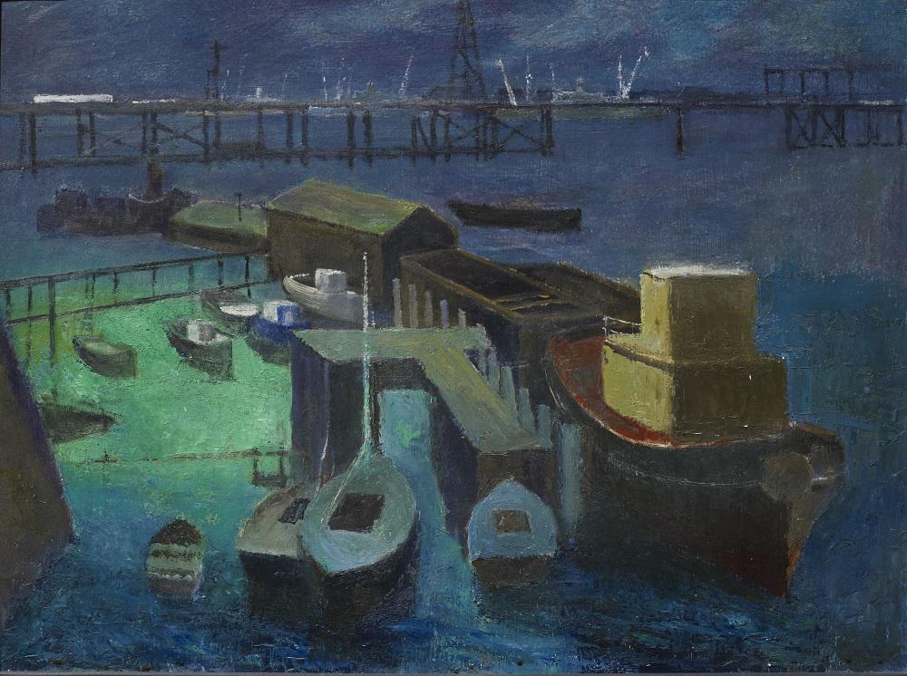 Frank Norton, Fremantle from East Street, 1963, oil paint on board. City of Fremantle Art Collection