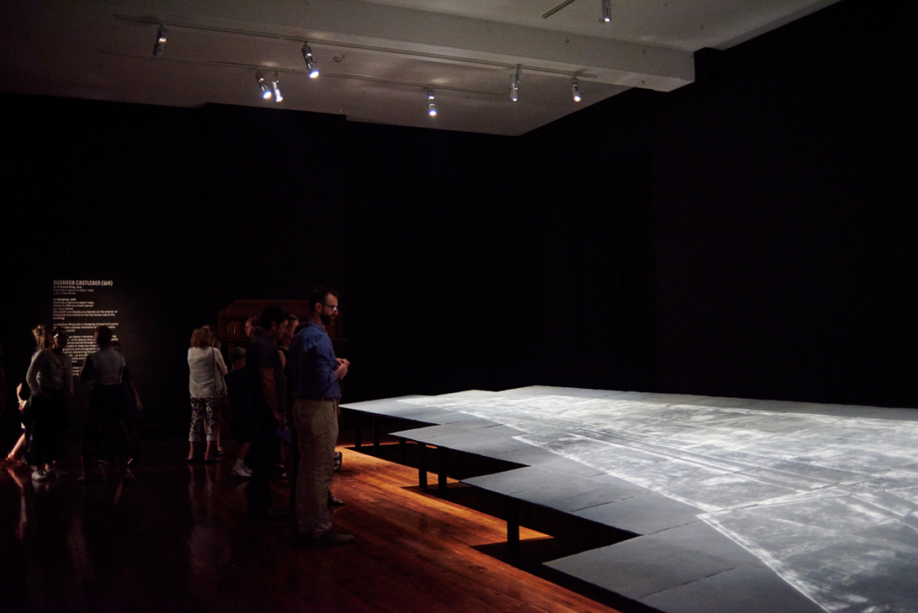 Susanna Castleden, 1:1 Airplane Wing, 2015, 4.16 × 12.69m, rubbing on gesso on paper maps. Photo by Rebecca Mansell