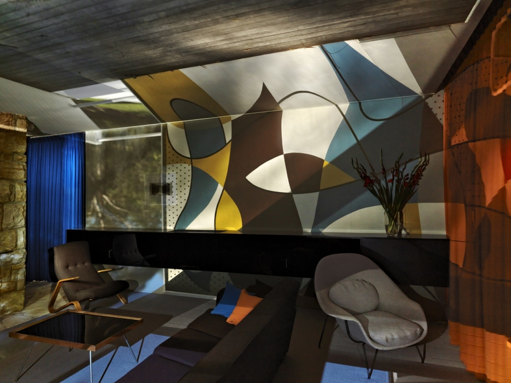 Robyn Stacey uses a camera obscura to project an outdoor modernist mural into the living room of the Rose Seidler House