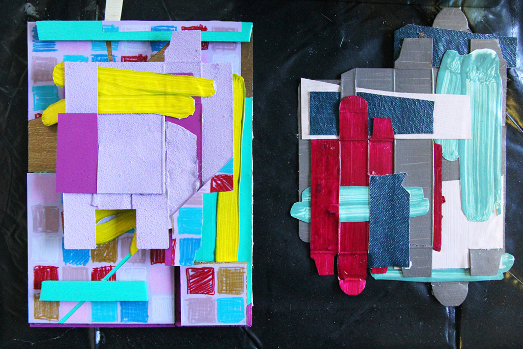 Sanne Koelmeij's colourful collage 'drawings' which will be used to create a final, large-scale work