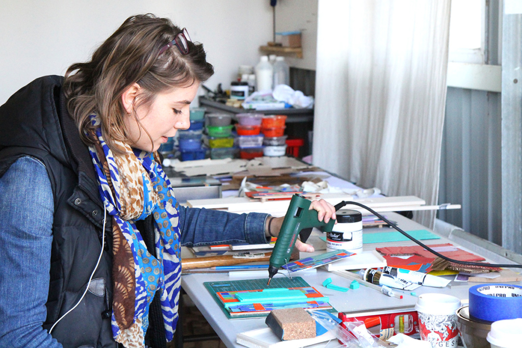 Artist in Residence Sanne Koelemij in her FAC studio creating her colour field collage 'drawings'
