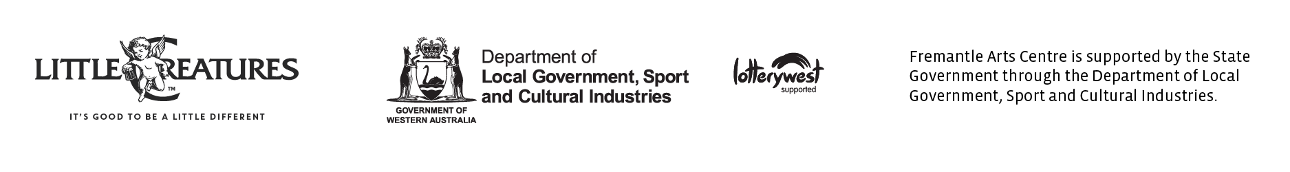 Supported by Little Creatures Brewing, Lotterywest and the State Government through the Department of Local Government, Sport and Creative Industries