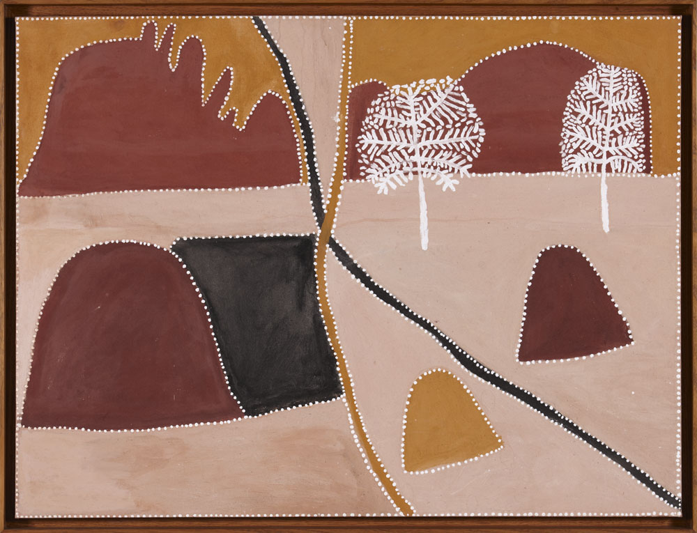 Queenie McKenzie (Gara-Gara), Garloomboomy, Ngamany the Borders of Gija Country, c.1992, ochre on canvas, 96 x 126cm. Artbank Collection, purchased 1994