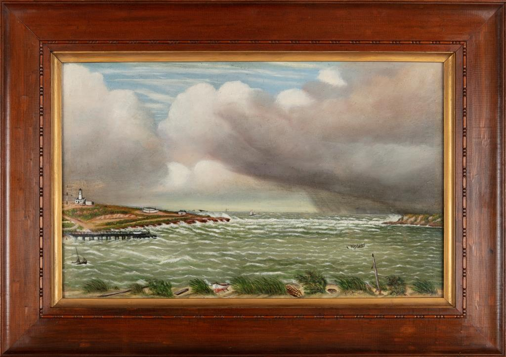 George Forsyth (1843-1894), (Arthur head Fremantle and mouth of the Swan River Estuary with storm clouds), 1893, oil paint on mill board, 33.4 x 53cm, no.1471, Courtesy City of Fremantle Art Collection