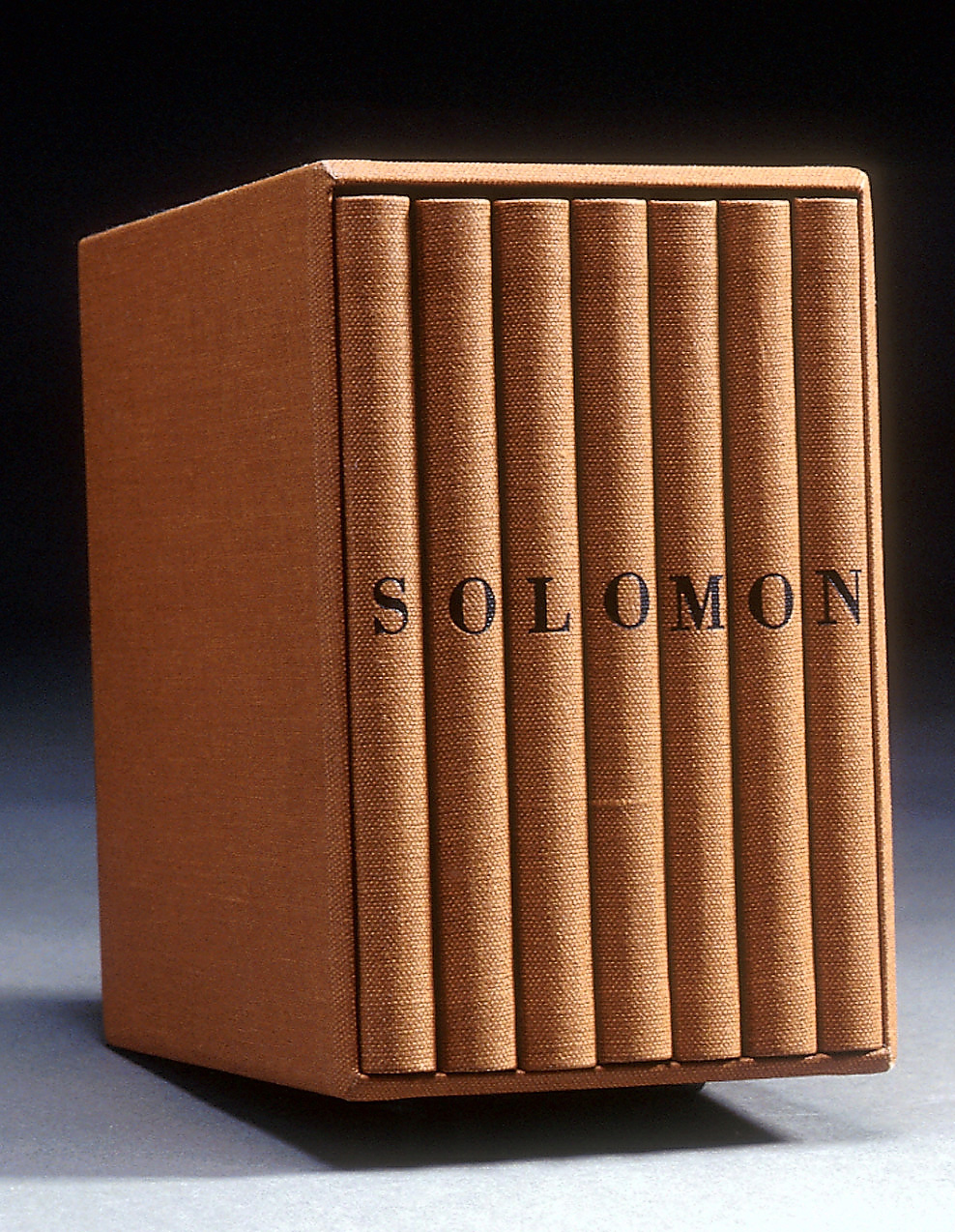 Jan Davis (1952-), Solomon, 1995, 7 volume artist book in casement digital print, 14.7 x 9.7 x 14, no. 936