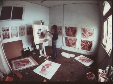 Peter Walker prior to his first solo exhibition at FAC, 1978.