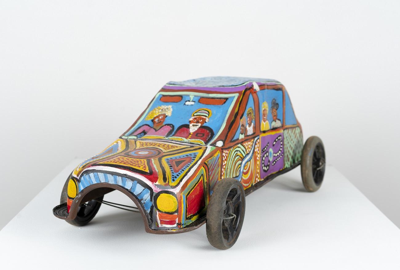 Maureen Nelson Joyrider, 2020 metal, plastic, acrylic paint 26 x 32 x 74 cm