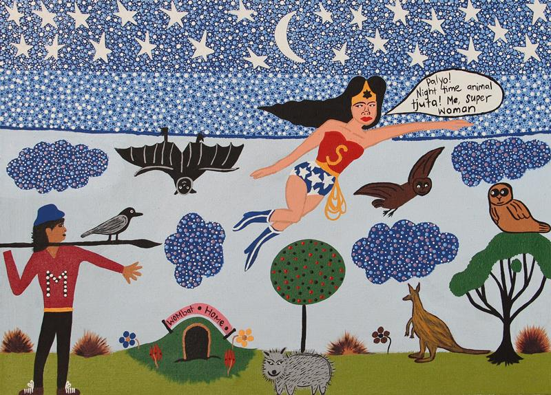 Kaylene Whiskey, Wonder Woman in the Night Time, 2017, acrylic on linen, 67 x 91cm. Courtesy the artist, Iwantja Arts and Ernst Family Collection