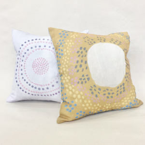 Cushion covers by Juluwarlu Artist Group. Image courtesy the artists