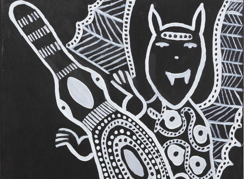 Bessie Daylight, Bat and Goanna Ngarranggarni (detail), 2020, ochre and acrylic on canvas, 70 x 50cm. Image courtesy the artist and Warmun Art Centre