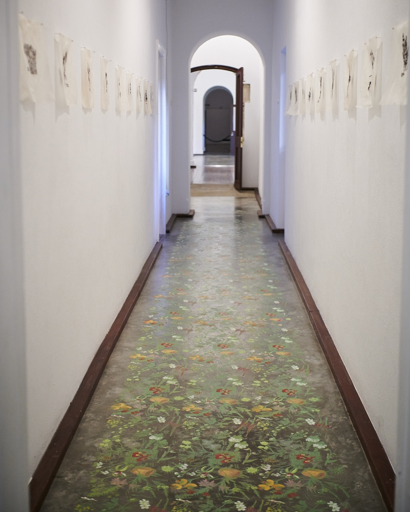 Angela Ferolla, A particular garden before, 2021, screenprinted and handpainted acrylic paint on concrete, dimensions variable. Photo by Rebecca Mansell