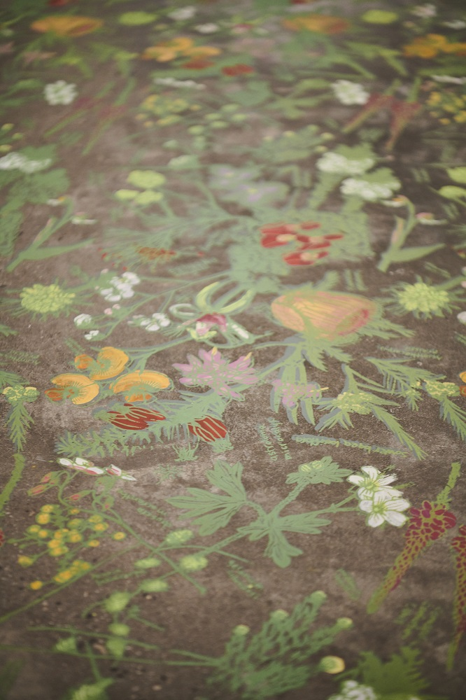 Angela Ferolla, A particular garden before (detail), 2021, screenprinted and handpainted acrylic paint on concrete, dimensions variable. Photo by Rebecca Mansell