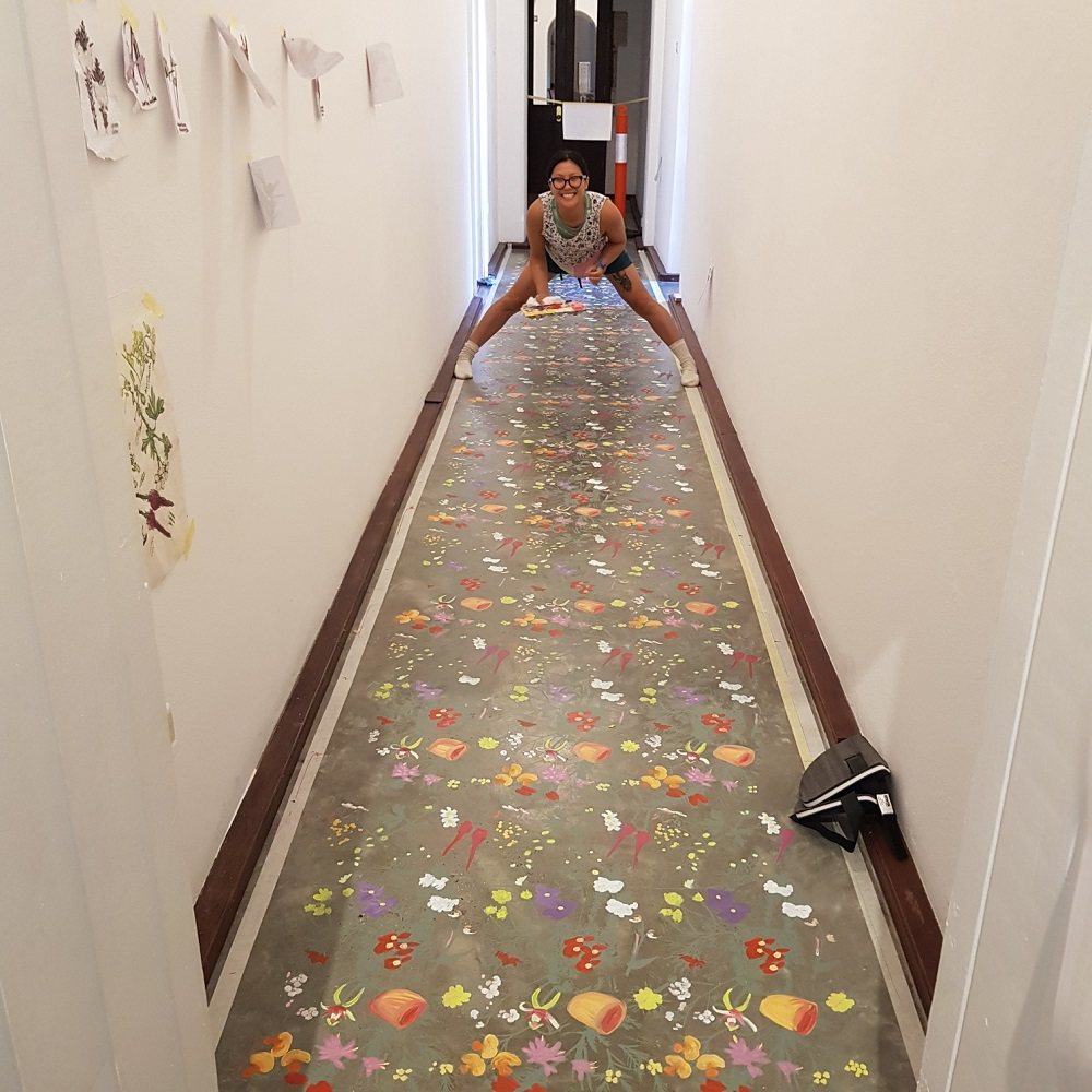 Installing Angela Ferolla's A particular garden before. Image courtesy of the artist