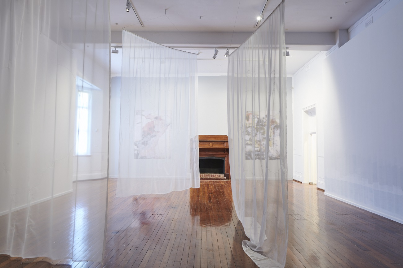 Phoebe Clarke, Prior to, 2021, organza and embroidery thread, dimensions variable. Photography by Rebecca Mansell
