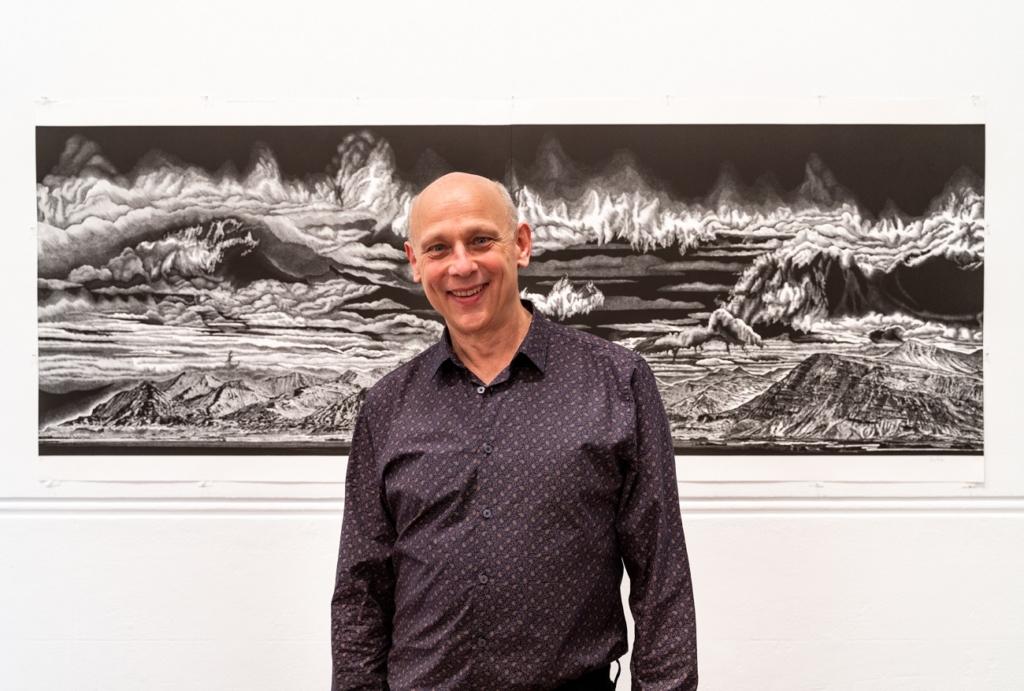 2019 FAC Print Award Winner Rew Hanks with his work Fishing East of Faskrudfjordur